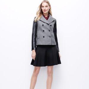 Gray Faux Leather Sleeve Petite Jacket
